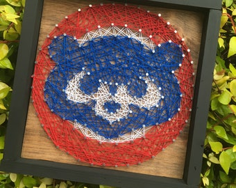 "7""x7"" Chicago Cubs String Art Man Cave Sports Team Wood Sign Wall Art Home Decor"