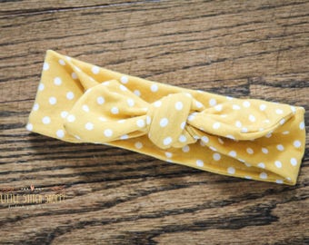 Top Knot, Baby Headband, Toddler Headband, Toddler Top Knot - Mustard Polka Dots