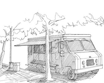 Ink sketch of a food truck in the shade