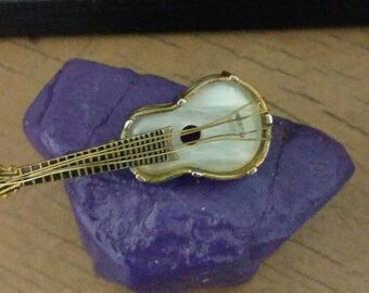Rare Vintage Damascene Spanish Guitar Pin with Mother of Pearl Inlay