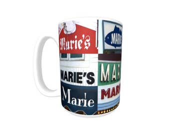 Personalized Coffee Mug featuring the name MARIE in photos of signs; Ceramic mug; Unique gift; Coffee cup; Birthday gift; Coffee lover
