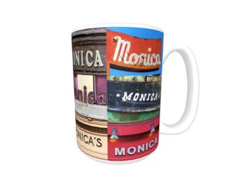 Personalized Coffee Mug featuring the name MONICA in photos of signs; Ceramic mug; Unique gift; Coffee cup; Birthday gift; Coffee lover