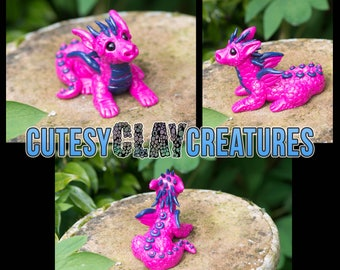 Bright Pink Dapper Dragon handmade polymer clay figure OOAK