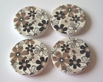 A Pack Of 4 30mm Wooden Round Buttons