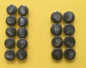 Vintage Plastic Buttons 1950's - Self Shanked Olive Green