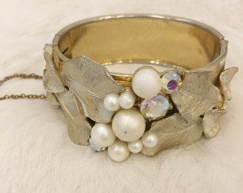 Vintage Wide Gold Cuff Bracelet with Faux Pearls, AB Crystals and Gold Leaf Detail