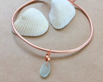 Ankle bracelet, copper anklet, beach anklet, sea glass anklet, boho anklet, copper jewelry, sea glass jewelry
