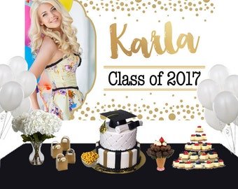 Graduation Sparkle Photo Personalized Backdrop - Congrats Grad Cake Table Backdrop Birthday- Class of 2018 Photo Backdrop, Grad Backdrop