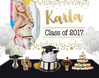 Graduation Sparkle Photo Personalized Backdrop - Congrats Grad Cake Table Backdrop Birthday- Class of 2017 Photo Backdrop, Grad Backdrop