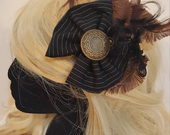 Black pinstripe and brown steampunk fascinator. Victorian burlesque.