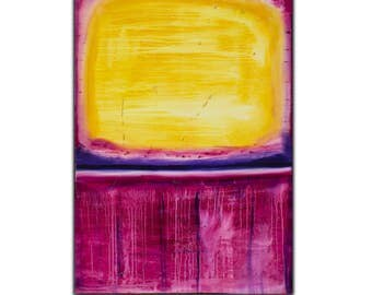 Original Pink Yellow Abstract Art on Canvas,  ,  47x32 inch, Original Modern Wall Art , Textured Painting,  !