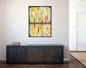 Original Colorful  Abstract Painting on Canvas ,  39x27 Modern Wall Art ,Home Decor  ,Rainbow Colors ,Acrylic Art