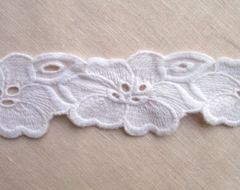 Floral Eyelet Embroidered Cotton Lace Trim By The Yard