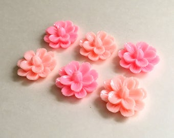 NEW - XLG 27mm Resin Flower Cabochon - Pale Pink or Bright Pink - QTY 6