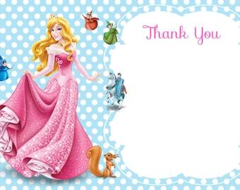 Aurora Thank you card, Sleeping Beauty, Disney Princess, Kid's Birthday Party thank you, Birthday thank you card