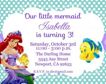 The Little Mermaid Invitation, Ariel, Disney Princess, Kid's Birthday Party Invite, Birthday Invitation, Thank you
