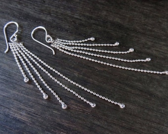 "Earring ""Dot"" with chains - silver"