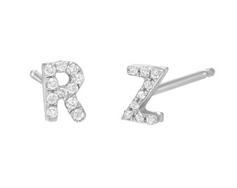 Small diamond initials earring studs (pair), diamond letter earrings