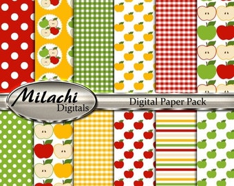 60% OFF SALE Apple Digital Papers, Polka Dots, Stripes, Gingham, Picnic Time - Commercial Use - Instant Download - M273