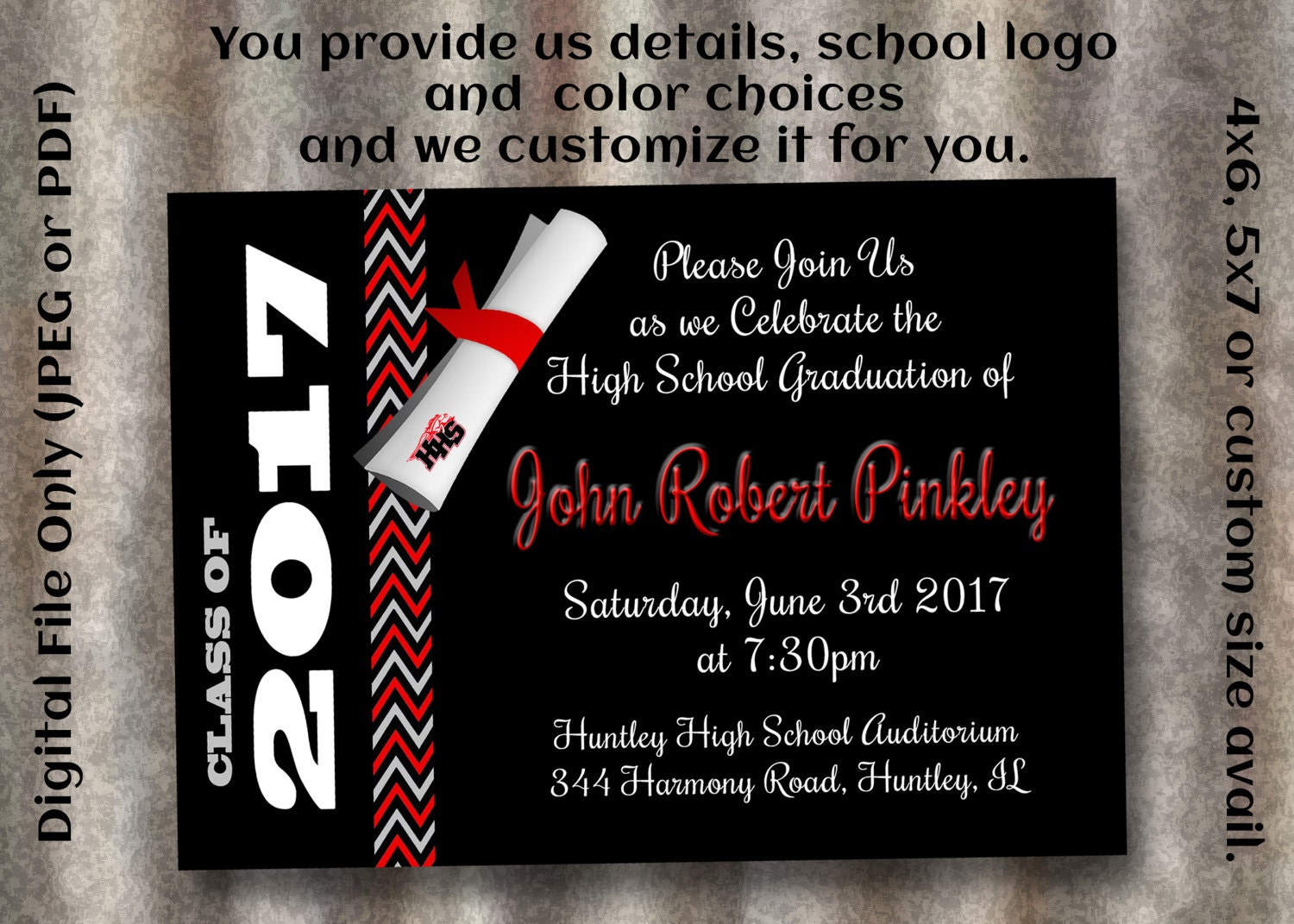 th grade graduation  etsy, invitation samples
