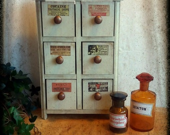 Handmade altered  shabby chic apothecary drawer cabinet