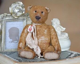 Artist Teddy Bear OOAK antique teddy bear vintage toy Plush Sawdust Soft sculpture Teddy Bear to order Сlassic teddy bear Old bear