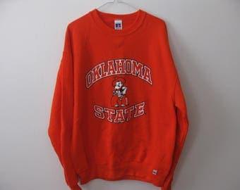 Oklahoma State OSU Sweatshirt Crewneck Adult Large Orange
