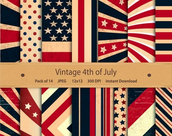 Vintage Fourth of July Digital Paper: Patriotic America Independence Stars & Stripes 4th of July USA - for scrapbooking invitations