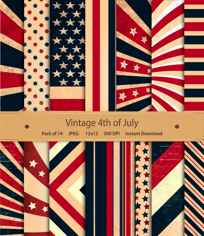 vintage fourth of july digital paper patriotic america. Black Bedroom Furniture Sets. Home Design Ideas