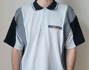 SOUTHPOLE TEE -tshirt, 90s, polo, hip hop, cyber, vaporwave, gothic, club kid, aesthetic, normcore, y2k, sportswear, stripes-