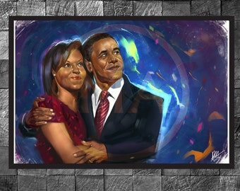 Obama Barack and Michelle Portrait Art Print Wall Art Home Decor