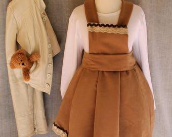 Pinafore dress, girls boutique dress, Girls winter dress, Girls Fall dress, Mustard pinafore, Preschool Outfit, Girls Clothing