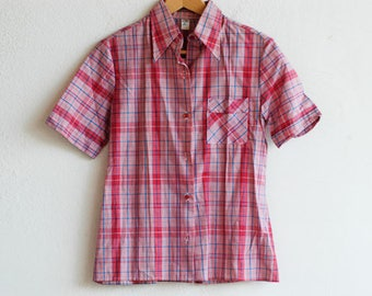 plaid shirt short sleeve / french vintage red blue white check 70s top / CITEX / new old stock NOS / made in France 1970s