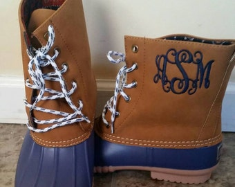 Monogrammed Navy Duck Boots, Navy Duck Booties, Personalized Duck Boots, Size 10 only