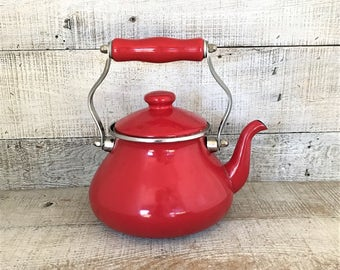 Teapot Red Enamel Teapot Mid Century Metal Tea Kettle Red Teapot with Metal Handle Teapot Mid Century Kitchen Decor Farmhouse Chic