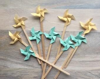 Mint and Gold Stir Sticks