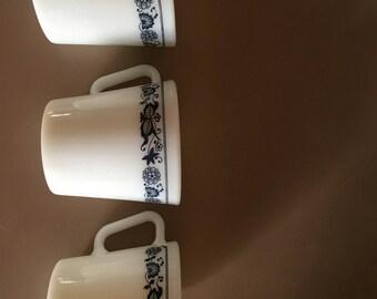 Set of three vintage milk glass mugs, blue design