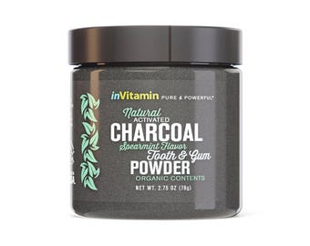 Natural Whitening Tooth & Gum Powder with Activated Charcoal, 2.75oz - Spearmint