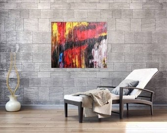 Modern abstract artwork in XXL by Alexander Zerr acrylic on canvas 120x100cm #583