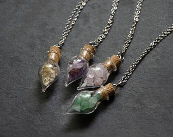 Crystal Chips in Corked Bottle Pendant Necklace | Citrine Amethyst Rose Quartz Adventurine | Vial necklace | Potion Necklace