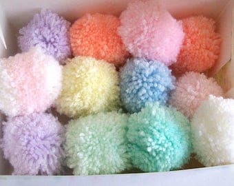 pom poms mixed pastel colours pom poms handmade various colours - 6cm diameter - box of 12