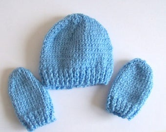 Baby knitting pattern hat and baby mittens knitting pattern for download