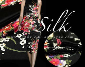 Black Silk Charmeuse Kimono Fabric by the yard