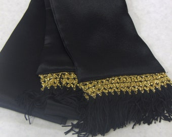 Black Silkie Sash, Scarf w/Black & Gold Fringe for Pirate, Ren Faire, Cosplay