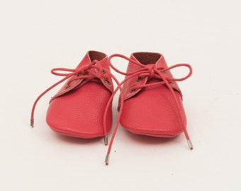 Genuine Leather Mac&Lou Baby Toddler Moccasins Babies Booties Shoes Baby Shower Gift Christmas Gift Red