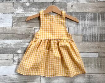 Baby Girls Dress | Yellow Gingham Dress | Baby Gingham Dress | Baby Summer Dress | Baby Yellow Sundress| Checkered Dress | Toddler Dress