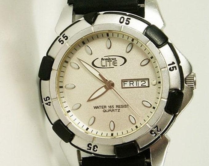 Storewide 25% Off SALE Vintage Gentleman's Armitron Lite Water Resistant Sports Watch Featuring Original Black & Silver Metal Band