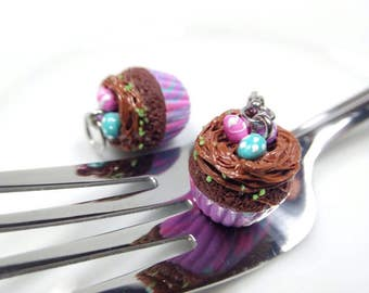 Easter Cupcake Charm, Easter Jewelry, Miniature Cupcake Necklace, Easter Cupcake Earrings, Chocolate Cupcake Necklace, Food Charms,