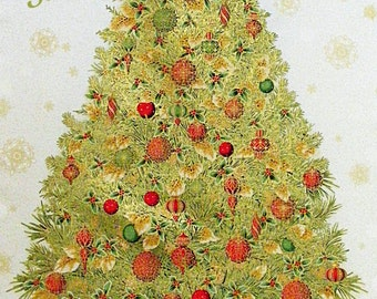 "Robert Kaufman's Winter Grandeur #4 Large Christmas Tree Fabric Panel~23"" x 44""~Holiday~Ornaments~15884"