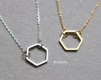 Hexagon Necklace, Geometric Necklace, Honeycomb Necklace, Layer necklace, Bridesmaid necklace, Everyday necklace, Wedding necklace